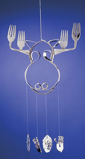 Moose Chime with Spoon Pinecones or Birds and Curled ForkFlowers