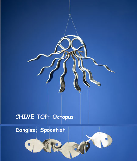 Octopus Windchime with Spoonfish Dangles
