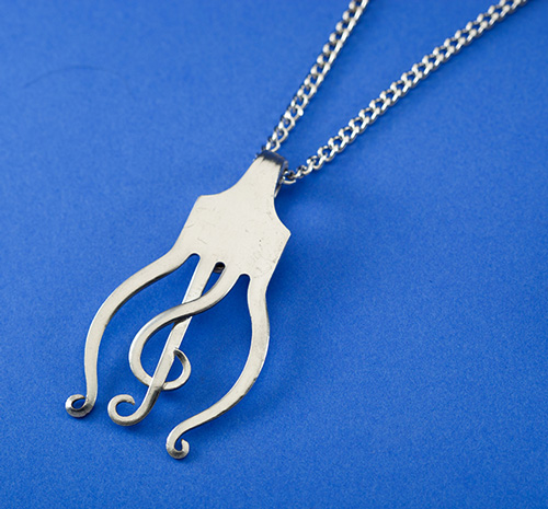 Treble Clef Curled Fork Necklace