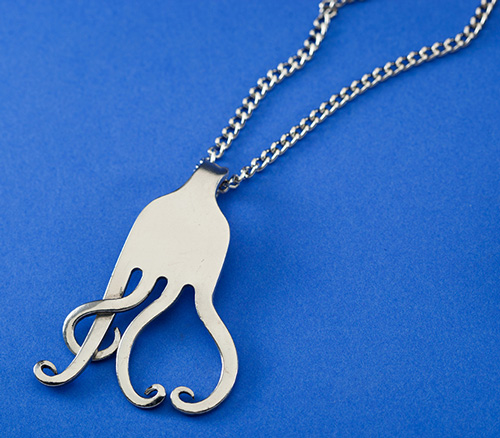 Treble Clef and Heart Curled Fork Necklace