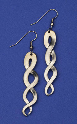 Braided Fork-tine Earring - Click Image to Close